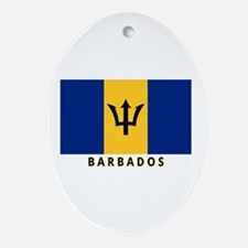 Barbadian Flag (labeled) Ornament (Oval)