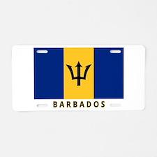 Barbadian Flag (labeled) Aluminum License Plate
