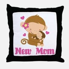 New Mom Monkey Gift Throw Pillow