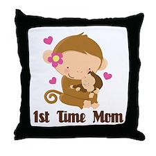 1st Time Mom Monkey Gift Throw Pillow