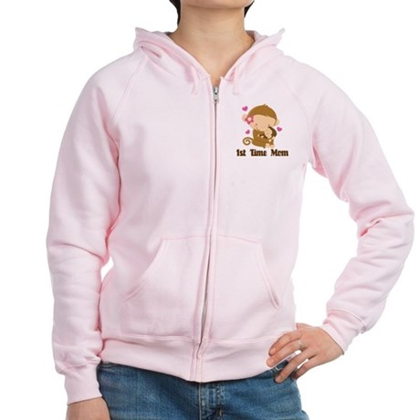 1st Time Mom Monkey Gift Women's Zip Hoodie