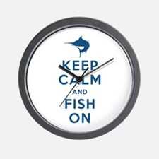 Keep Calm and Fish On Wall Clock