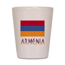 Armenia Flag & Word Shot Glass