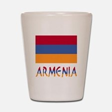 Armenia Flag & Word Shot Glass