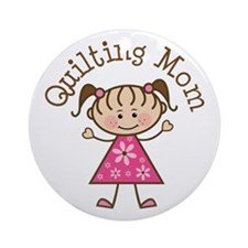 Quilting Mom Gift Ornament (Round)