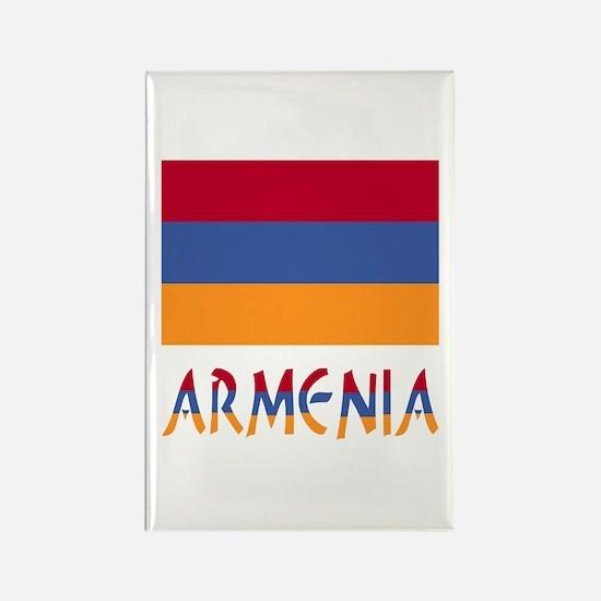 Armenia Flag & Word Rectangle Magnet