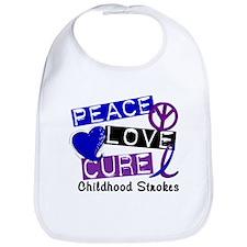 Peace Love Cure Childhood Strokes 1 Bib