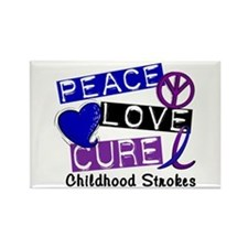 Peace Love Cure Childhood Strokes 1 Rectangle Magn
