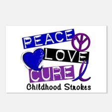 Peace Love Cure Childhood Strokes 1 Postcards (Pac