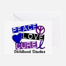 Peace Love Cure Childhood Strokes 1 Greeting Card