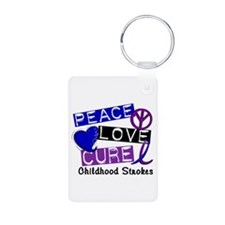 Peace Love Cure Childhood Strokes 1 Keychains
