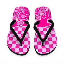 Pink Floral Checkered Flip Flops