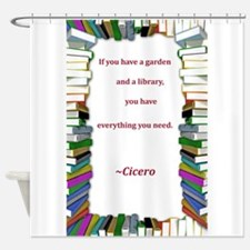 A Garden and A Library Shower Curtain