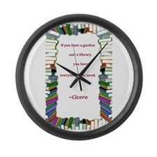 A Garden and A Library Large Wall Clock