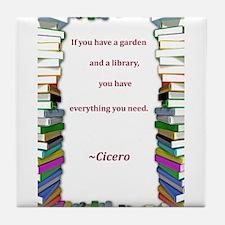 A Garden and A Library Tile Coaster