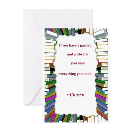 A Garden and A Library Greeting Cards (Pk of 10)
