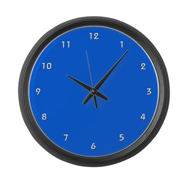 Large Royal Blue Wall Clock With White Numbers By