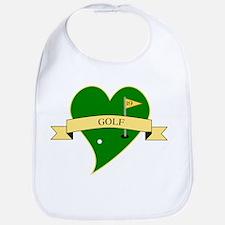 I Love Golf Heart Bib