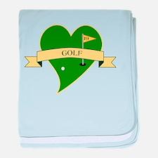 I Love Golf Heart baby blanket