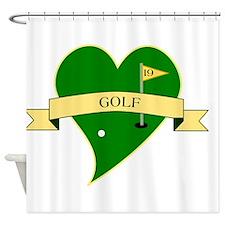 I Love Golf Heart Shower Curtain