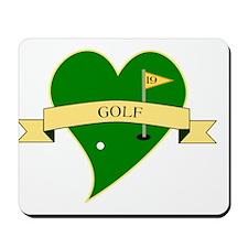 I Love Golf Heart Mousepad