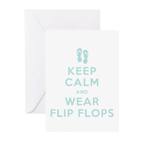 Keep Calm and Wear Flip Flops Greeting Cards (Pk o