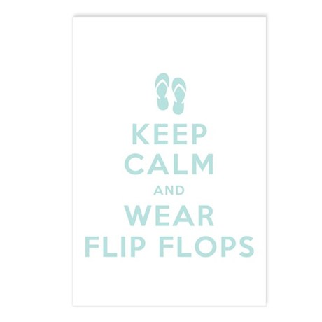 Keep Calm and Wear Flip Flops Postcards (Package o