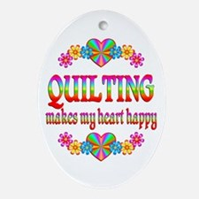 Quilting Happy Ornament (Oval)