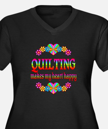 Quilting Happy Women's Plus Size V-Neck Dark T-Shi
