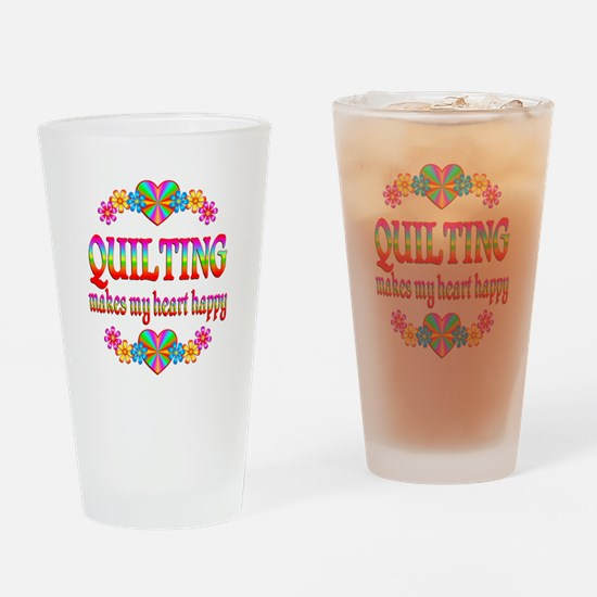 Quilting Happy Drinking Glass