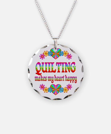 Quilting Happy Necklace Circle Charm