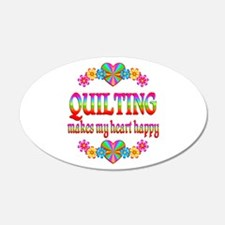 Quilting Happy 22x14 Oval Wall Peel