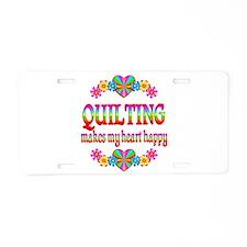 Quilting Happy Aluminum License Plate