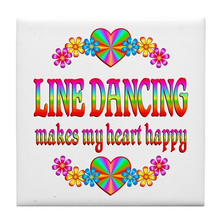 Line Dancing Happy Tile Coaster
