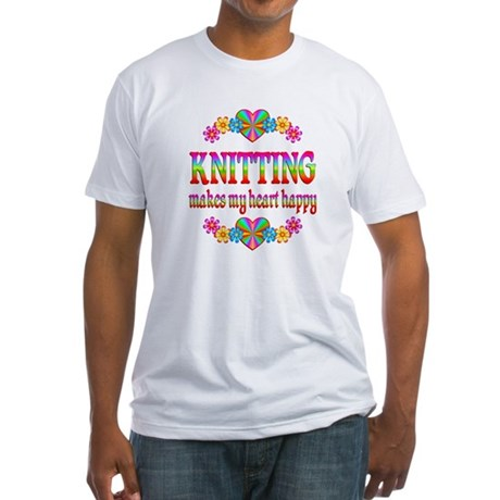 Knitting Happy Fitted T-Shirt