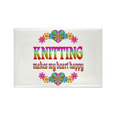 Knitting Happy Rectangle Magnet