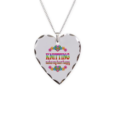 Knitting Happy Necklace Heart Charm