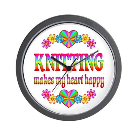 Knitting Happy Wall Clock