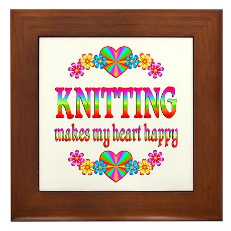 Knitting Happy Framed Tile