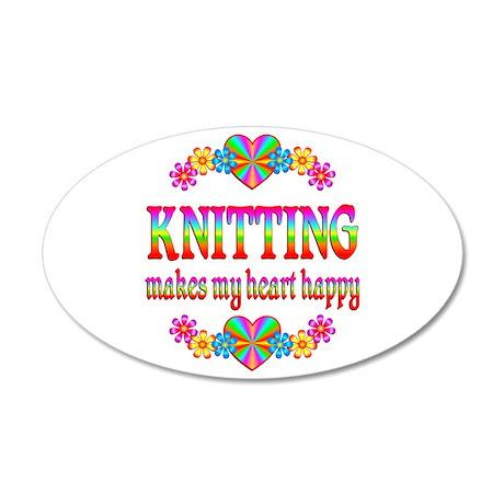 Knitting Happy 38.5 x 24.5 Oval Wall Peel