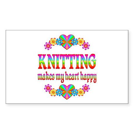 Knitting Happy Sticker (Rectangle)