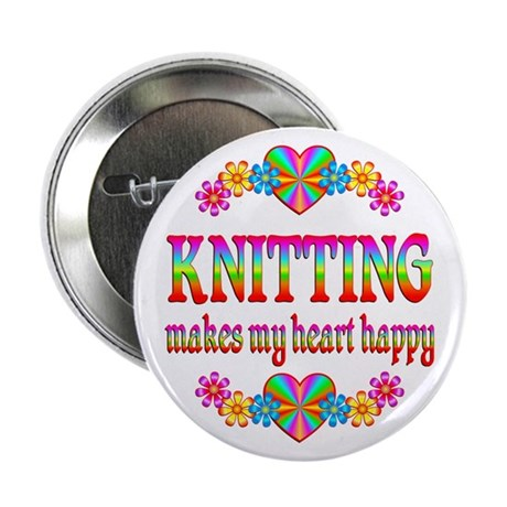 """Knitting Happy 2.25"""" Button"""