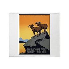 National Parks Preserve Wild Life Throw Blanket