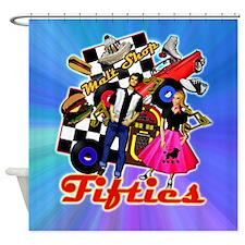 Fabulous Fifites Blue Shower Curtain