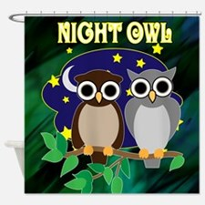 Night Owls Retro 70's Shower Curtain