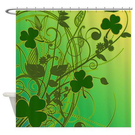 Irish Shamrock Filligree Shower Curtain