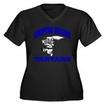 Compton College Women's Plus Size V-Neck Dark T-Sh