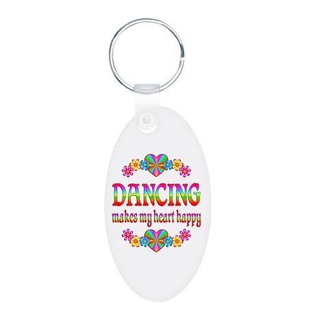 Dancing Happy Aluminum Oval Keychain