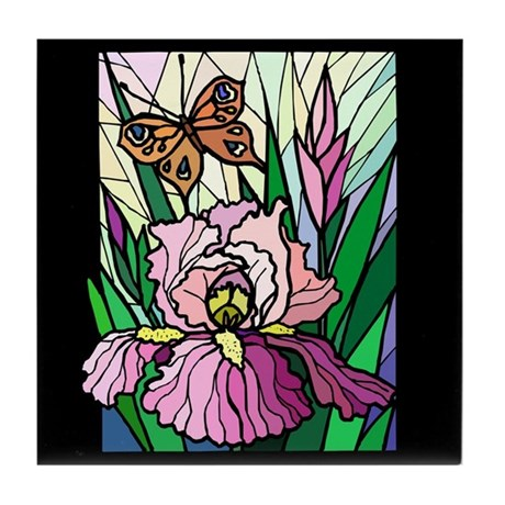Stained Glass Iris & Butterfly Tile Coaster