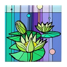 Stained Glass Waterlily Tile Coaster